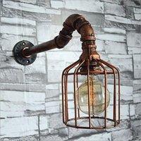 قفص الطيور الرجعية الحديد الجدار مصباح أنابيب المياه المعدنية مصباح اليدوية الرياح الصناعية الديكور جدار الشمعدان ضوء