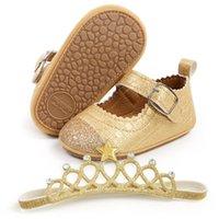 Baby Shoes First Walkers Newborn Shoe Girls Infant Footwear Moccasins Soft Toddler Wear Spring Autumn Princess Crown Headbands 2Pcs Sets 0-1T B8733