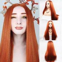 Sentetik Peruk Uzun Düz 350 # Ginger Renkli T 13X1 Dantel Ön Saç Peruk Öncesi Koparalı Turuncu Bakır Kırmızı Frontal Kadınlar için
