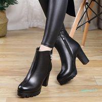 Оптовые ботинки Giyu 2021 бренд зима женская натуральная кожа короткие моды высокие каблуки молнии