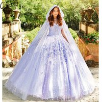 Lavender Quinceanera Party Dreses With Shawl Sweet 16 Dresses Lace Applique Off Shoulder Lace-up Prom Ball Gowns Graduation 7th