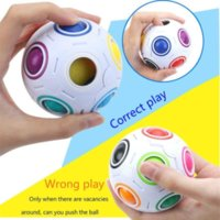 무지개 공 퍼즐 구형 마법 큐브 장난감 성인 어린이 플라스틱 창조 축구 학습 교육 장난감 어린이를위한 선물