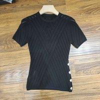 Milan Pist T-shirt 2020 Bahar Yaz O Boyun Panelli kadın T-shirt Kazak Kadın Tasarımcı T-shirt 0417-30