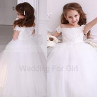 Girl's Dresses Off Shoulder Lace Tulle Flower Girl Dress For Wedding Beaded First Communion Girls Party Birthday Gown