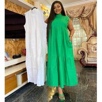 Ethnic Clothing 2021 Fashion Women African Clothes Solid Colors Sleeveless Maxi Dress Africa Kanga Pleated Shirt Loose Casual