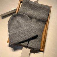 2021 New Designer Sombrero Sombrero Set Hombre Para Hombre Invierno Cálido Beanie Y Bufandas Conjuntos Alta Calidad 6 Colores Opcional Exquisita caja de regalo