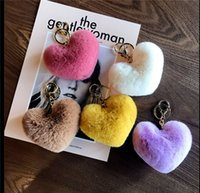 2021 Leopard fluffy ball Cute keychain bag car pendant Pompom love key chain wholesale accessories in creative gifts