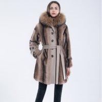 OFTBUY 2021 Long Winter Jacket Women Real Fur Coat Natural Raccoon Fur Collar Hooded Belts Thick Warm Outerwear Streetwear New