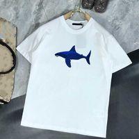 رجل مصمم تي شيرت فاخرة القرش نمط تيز أزياء الرجال الطباعة قصيرة الأكمام 2021 الصيف العصرية المرأة تي شيرت