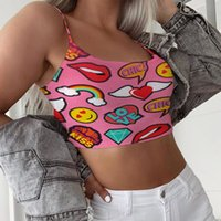 2021 Kadın Karikatür Tank Tops Mektup Baskılı Seksi Yelek Moda Yaz Kırpma Üst Bayanlar Kızlar Kolsuz T Shirt Rahat İç Tee En Iyi G31006