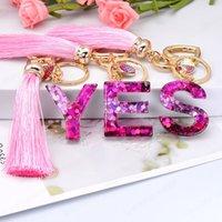 26 Letter Sequin Glitter Pink Gradient Tassel Keychain Alphabet Car Mirror Handbag Decoration Rings Holder Jewelry Gifts