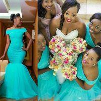 Abiti da sposa africana abiti da sposa turchese sirena damigella d'onore abiti fuori dalla spalla Aqua Blue Long Party Abiti da sera