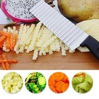 Stainless Steel Potato Chip Slicer Dough Vegetable Fruit Crinkle Wavy Slicer Knife Potato Cutter Chopper French Fry Maker BWF10398