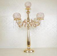 Metal Gümüş / Altın Kaplama Mumluklar 5 Silah Standı Masa Centerpiece Ayağı Şamdan Düğün Dekorasyon Candlestick Için