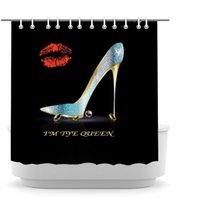 Woman High Heels Shower Curtain Teal Fashion Shoes w Kissing Lip Bathroom Curtains I am The Queen Lady Shoe with Diamond Prin on Black Fabric Bath Decor 72x72inch