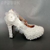 Dress Shoes White Lace Flower Bride Wedding High Heel 11cm Block Heeled Round Toes Plus Size 34-42 Women Bridesmaid Bridal Pumps Shoe