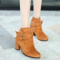 Monerffi 섹시 부츠 여성 단색 컬러 신발 버클 부츠 하이힐 뾰족한 가을 겨울 신발 버클 장식 Botas Mujer Cat 부츠 Q6LD #
