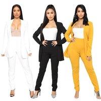 Women's Two Piece Pants Conjunto Blazer Feminino De Duas Peças, Cores Sólidas, Para Escritório, Roupa Formal, Com Botões, Novo, Rosa, Amarel