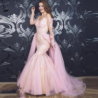 Süße rosa Meerjungfrau aus Schulterende Abendkleider lange Ärmel Appliques Lace Prom Kleider Sweep Zug Mädchen Party Kleid mit Overkirt 2021