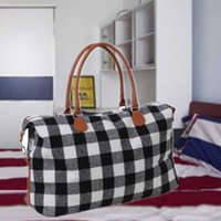 New Home Black White And Red Plaid Large Capacity Travel Tote Sport Fitness Yoga Storage Bag For Men And Women