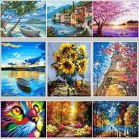 50x40cm Painting FAI DA TE Pittura di numeri Adulto Animali dipinti a mano Immagini Decorazione della pittura ad olio Dono decorazione della parete da colorare