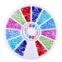 Décorations d'art ongles 12Grid Coloré Perle Crystal Cristal Taille Mixte Decoration AB 3D Symphony Symphony Demi Design à Wheel Salon Conseils