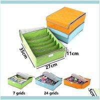 Housekeeping Organization Home & Garden7 16 24 Grid Non-Woven Underwear Storage Box With Lid Bustproof Bra And Socks Space-Saving Closet Der