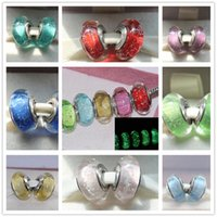 DIY Bead suelto 5 unids / lote 925 Sterling Silver Signature Color Fluorescence Beads Murano Beads Fit Pandora Charm Pulseras Collares