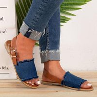 Sandals Buckle Belt Denim Women 2021 Slippers Summer Beach Shoes Woman Tailor-made Flat Fringe Jeans Sandalias Large Size 34-43