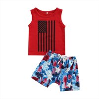 يوم الاستقلال الصيف طفل الفتيان الملابس مجموعات 2PCS 0 3Y أكمام مخطط سترة قمم نجمة التعادل صبغ السراويل
