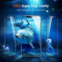 Protections de téléphone portable Glue en verre trempé en verre 3D 9H Couverture d'écran Explosion Écrans Protecteur de protecteur pour iPhone 12 Mini 11 Pro Max Samsung S21 S21Plus S21ULTRA