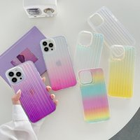 2021 New design Holographic Gradient Rainbow Color Mobile Phone Cases for iPhone 13 12 11 Pro Max XR X XS 7 8 Soft TPU Clear Girly Suitcase Cover Water Resistant Case
