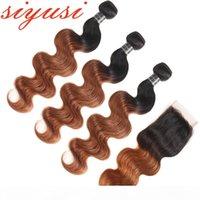 Barrés brasileño ondas de cabello humano paquetes de pelo rubio de miel con cierre 1b 27 1b 30 Red Borgoña Ombre Pelo virgen brasileño con cierre