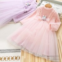 Girls beaded lace tulle dresses kids stereo Bows rabbit applique gauze princess dress winter children birthday party clothing Q2736