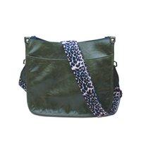 DOMIL Guitar Strap Crossbody Bag with Leopard Shoulders Women's PU Solid Color Cross-body Purse Animal Print Shoulderbag