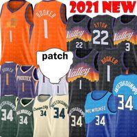 Devin 1 Booker Deandre 22 Ayton Jersey Giannis 34 Antetokounmpo Chris 3 Paul Basketball Jerseys Black White Roxo Logos de Bordado Logotipos