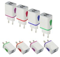 Flash Light Dual usb ports Universal US EU AC home wall charger adapter power 2.1A+1A for Samsung note10 s10 s9 s8 note9 note8 HTC Xiaomi