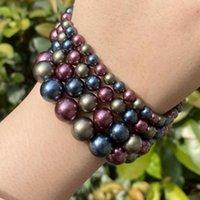 Övrigt 6/8/10 / 12mm Natural Crimson Blue Gold Bead Shell Pearl Nacklace Armband Loose Seashell Tillbehör för smycken Göra DIY