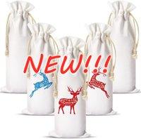 Wine Bottle Bag with Drawstring Sublimation Blank Wine Bag Polyester Heat Transfer DIY Bag for Christmas Wholesale