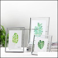 Frames And Modings Arts, Crafts Gifts Home & Gardenpressed Glass Floating Picture Nordic Metal Wire Po Frame With Cute Cat Easel Stand Gold