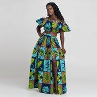 2021 Kadınlar Afrika Baskılı Seksi Uzun Iki Parçalı Etek Seti Nijeryalı Rahat Parti Elbise Gece Kulübü Kapalı Omuz Elbiseler Maxi Yaz Elbise Setleri