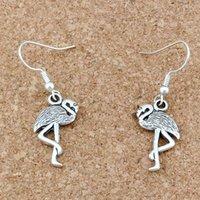 24pairs/lot Flamingo Crane Chandelier Earrings Silver plated Fish Ear Hook Jewelry 12x40.5mm A-272e
