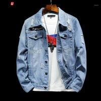 Смешные моды Печать Свободные ковбойские пальто Мужская джинсовая куртка сафари стиль джинсовые куртки для студентов Streetwear студентов1
