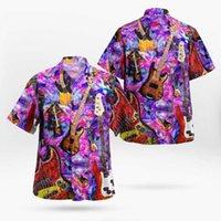 Camisas casuais de homens 2021 3D Imprimir Guitarra Rock Hip Hop Hawaii Homens Verão Verão Camisa de Praia de Manga Curta Camisa Oversize Camisa Masculina 5xl