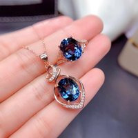 Earrings & Necklace Fashion Hollow Geometry Pendant 4-Claw Oval Blue Cubic Zircon Rose Gold Ring For Women Wedding Cocktail Party Jewelry