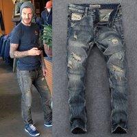 European American Retro Jeans d'hommes Couture de mendiant Vieux patch du mendiant Lâche Pantalon long Pantalon Personnalité Fashion Marque Locomotive