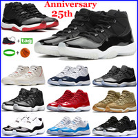 Yeni 11 11 S Erkek Basketbol Ayakkabıları 25. Yıldönümü Düşük Bred Concord 45 Kap ve Kıyafet 72-10 Beyaz Metalik Gümüş Koşu Sneakers