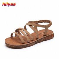 Femme Sandales Chaussures plates Chaussures Strap de la cheville Pu Summer Slip sur Respirant Casual Sandalie Plat Sandalias Cool Femmes Sandales Chaussures Y8YT #