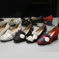 Классический серединный наборный каблук для каблуки обуви дизайнер кожа толстые пятки высокие каблуки 100% коровьи кисточек круглые головы металлические кнопки женщины маленькие пчелы платье большие размеры 34-42 US5-US11