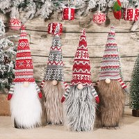 Christmas Gnome Faceless Doll Red Wine Bottle Cover knitting Long Beard Beer Champagne Bottles Covers Home Xmas Festival Party Table Dinner Decorations JY0784